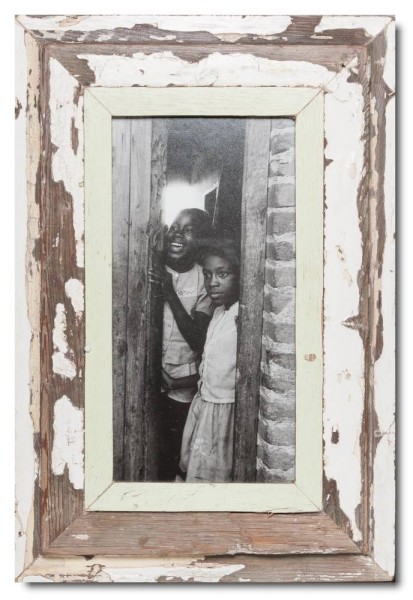 Panoramic distressed wooden frame square for picture size 29,7 x 14,8 cm