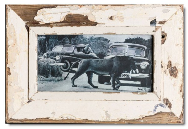 Panoramic rustic timber picture frame for picture format A4 panoramic