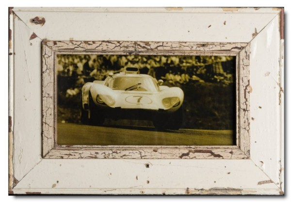 Panoramic reclaimed wood picture frame for picture size A4 panoramic