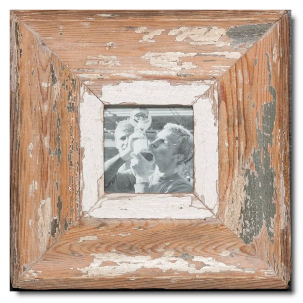Square distressed wooden picture frame for photo size A6 square